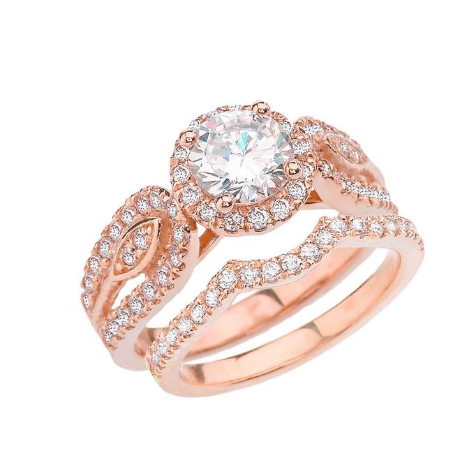 Rose Gold Elegant Diamond Engagement/Wedding Ring Set With Cubic Zirconia Center Stone
