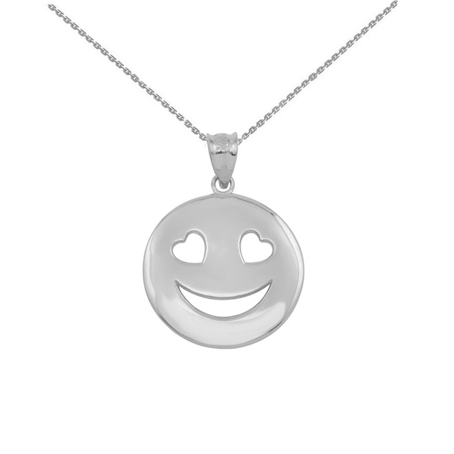 Sterling Silver Heart Eyes Smiley Face Pendant Necklace