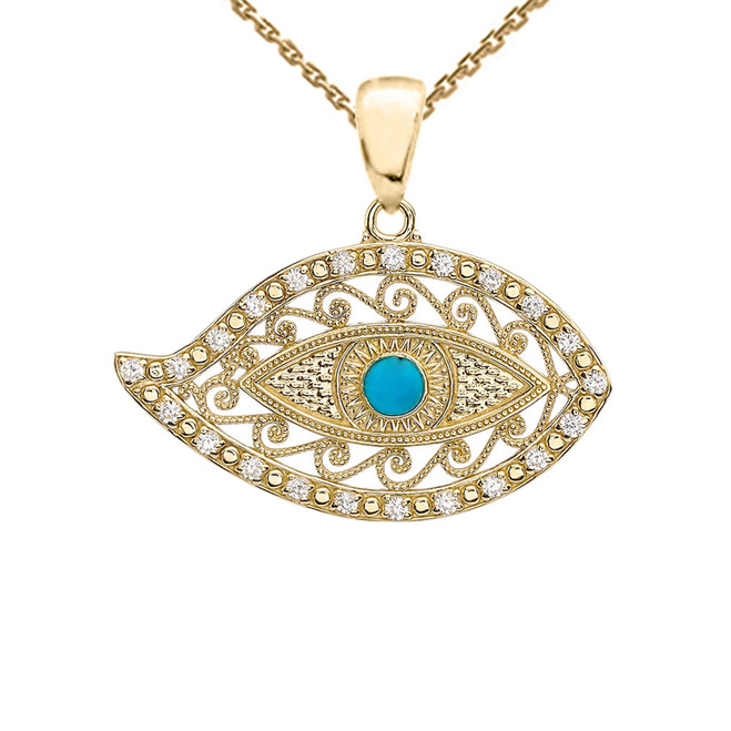 Yellow Gold Evil Eye Diamond Pendant Necklace With Turquoise Center Stone