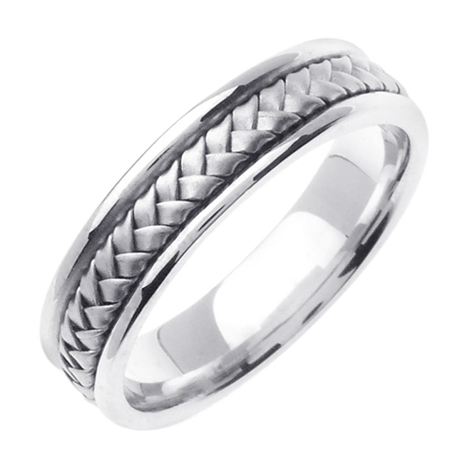 White Gold Hand Woven Wedding Band