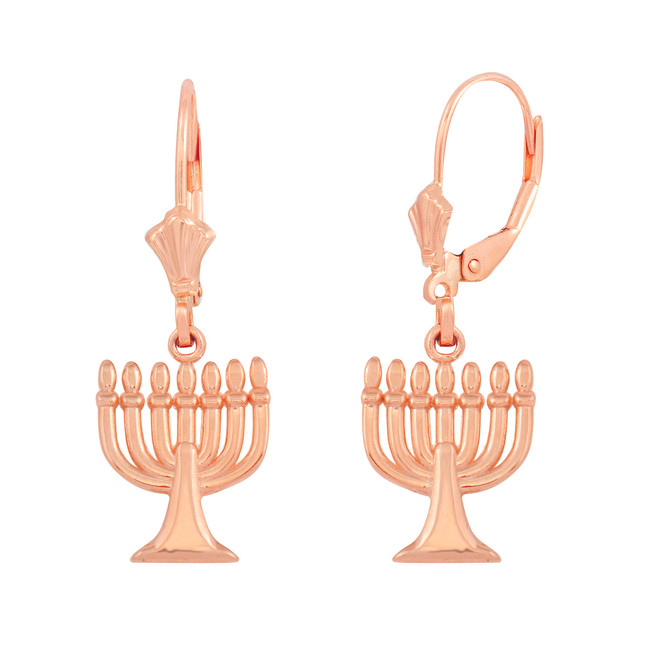 14K Rose Gold Israel Jewish Hanukkah Menorah Earring Set