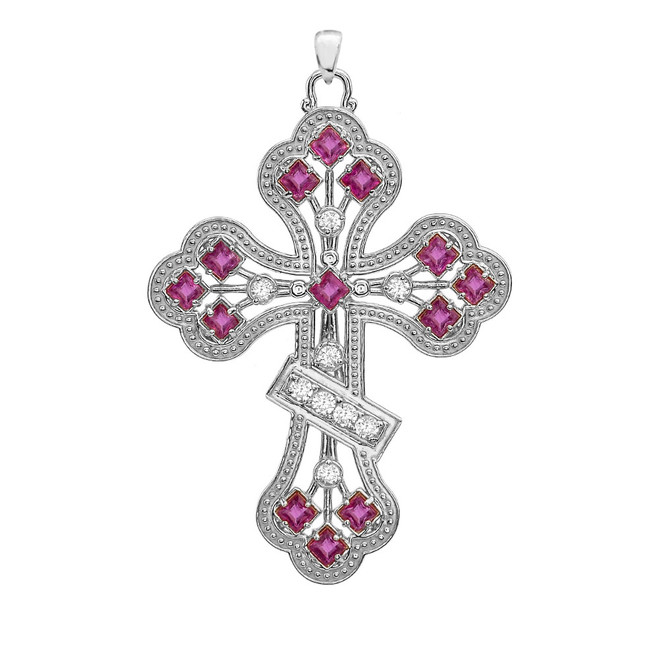 White Gold Fancy Cross Diamond Pendant Necklace With Gemstone