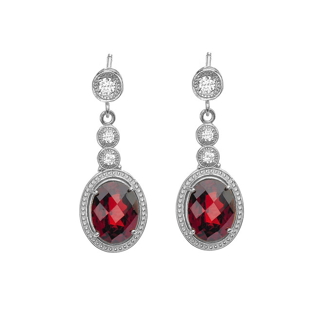 White Gold Diamond and Garnet Earrings