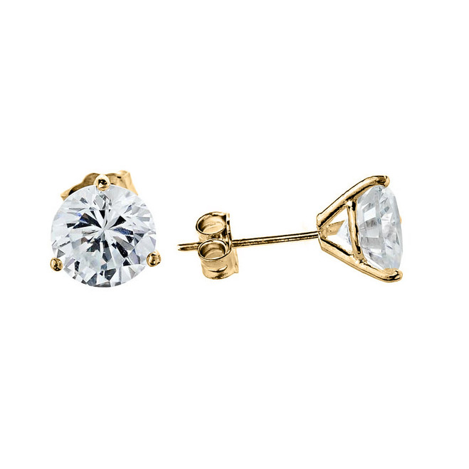 Yellow Gold CZ Martini Stud Earrings