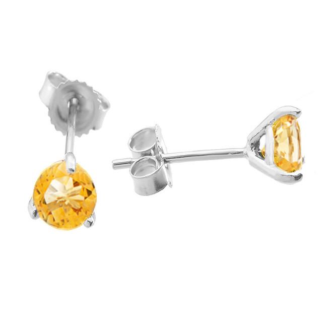 White Gold Citrine Martini Stud Earrings