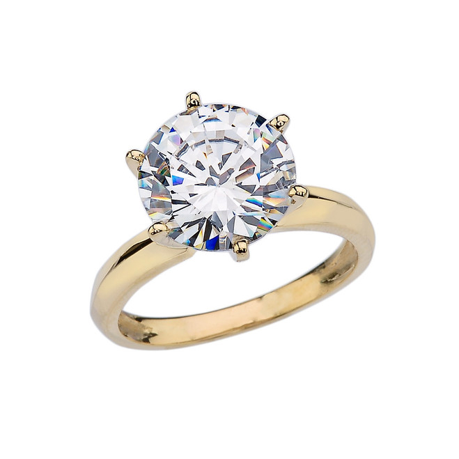 Yellow Gold Over 7 Ct Round Solitaire Engagement/Proposal Ring