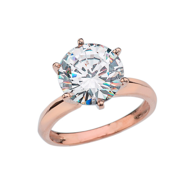 Rose Gold Over 7 Ct Round Solitaire Engagement/Proposal Ring