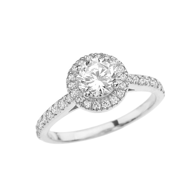 White Gold Halo Engagement/Proposal Ring With Cubic Zirconia