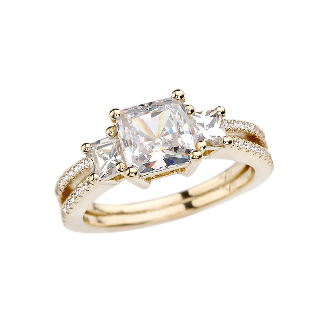 Yellow Gold Double Raw Elegant Princess Cut Engagement/Proposal Ring With Over 3 Ct Princess Cut Cubic Zirconia