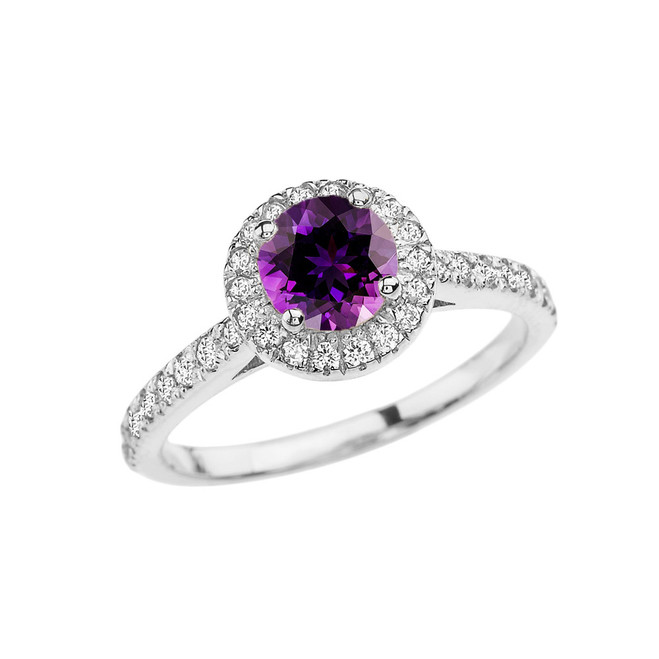 White Gold Diamond and Amethyst Engagement/Proposal Ring
