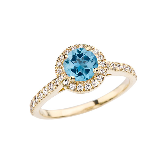 Yellow Gold Diamond and Blue Topaz Engagement/Proposal Ring
