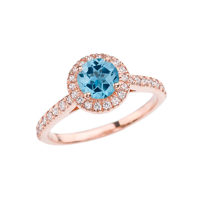 Rose Gold Diamond and Blue Topaz Engagement/Proposal Ring