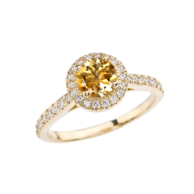 Yellow Gold Diamond and Citrine Engagement/Proposal Ring