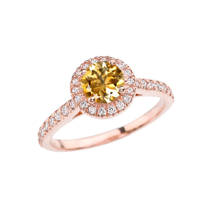Rose Gold Diamond and Citrine Engagement/Proposal Ring