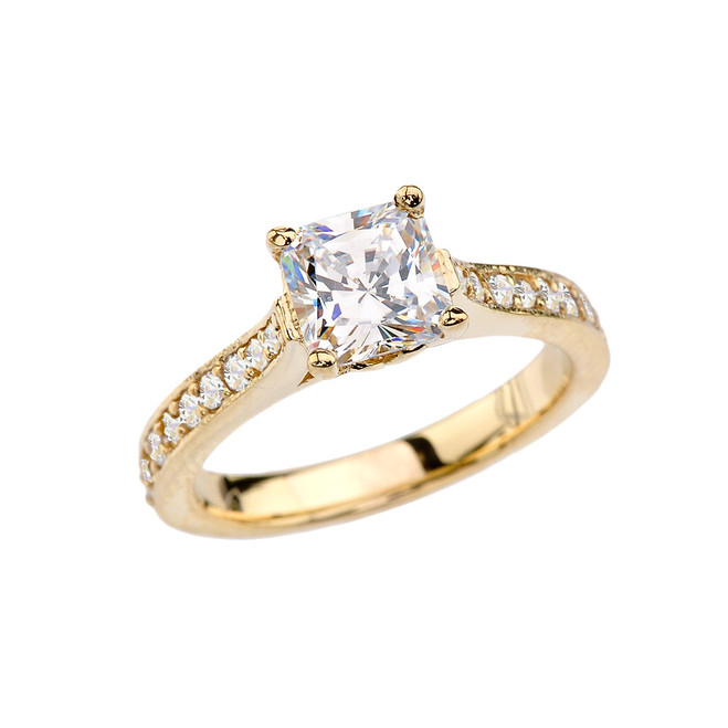 Yellow Gold Princess Cut Proposal/Engagement Ring With Cubic Zirconia