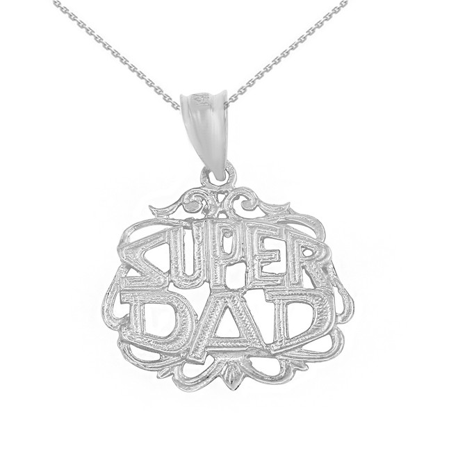 Solid White Gold Super Dad Filigree Pendant Necklace