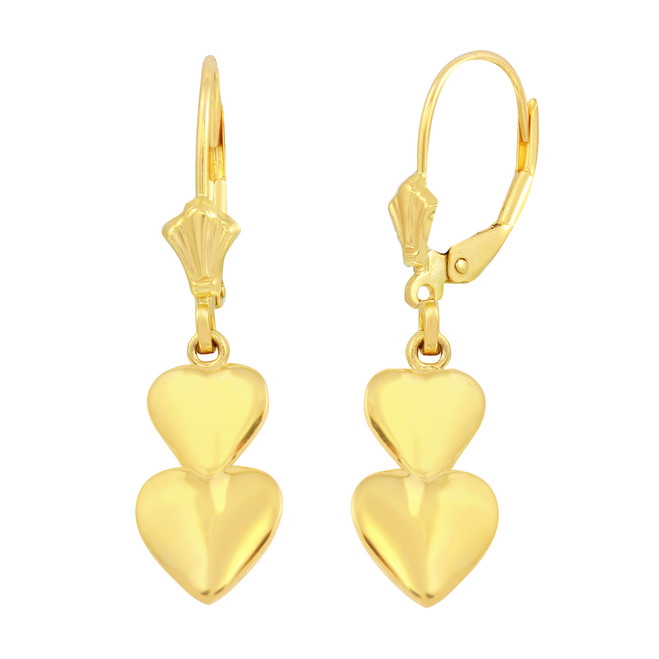 Yellow Solid Gold Two Stacked Hearts Love Earring Set
