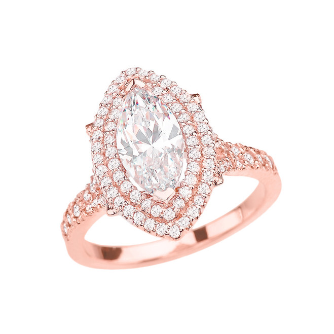 Rose Gold Double Raw Halo Diamond Engagement Ring With 3 Ct Marquise Cubic Zirconia In The Center