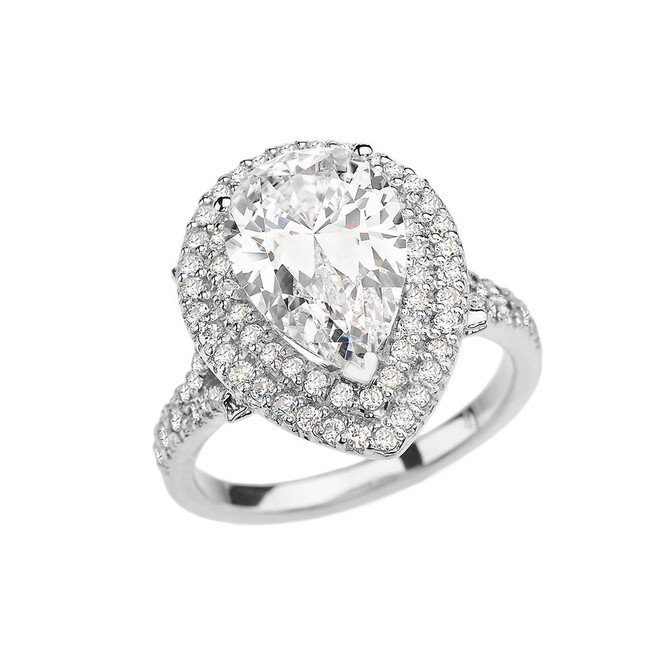 White Gold Double Raw Engagement/Proposal Ring With Over 7 Ct Cubic Zirconia