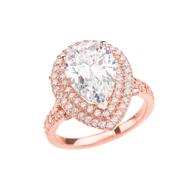Rose Gold Double Raw Engagement/Proposal Ring With Over 7 Ct Cubic Zirconia