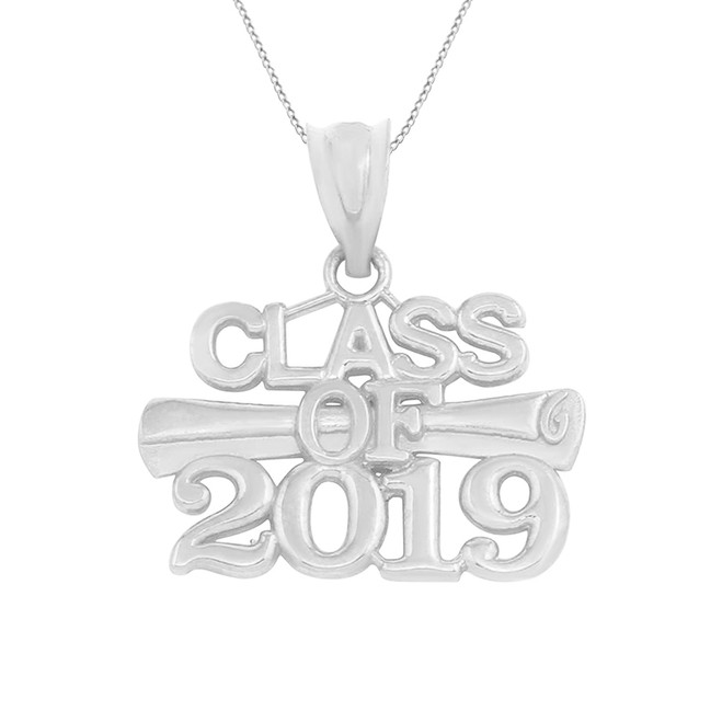 Sterling Silver Class of 2019 Graduation Certificate Pendant Necklace
