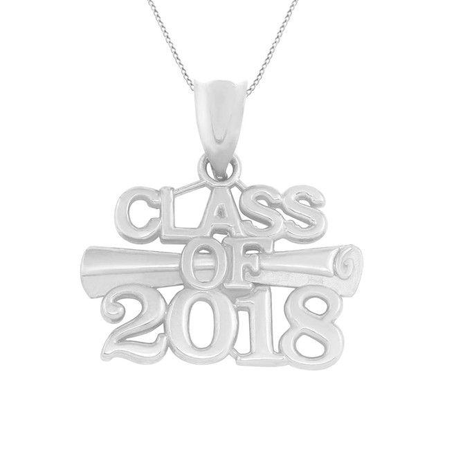 Solid White Gold Class of 2018 Graduation Certificate Pendant Necklace