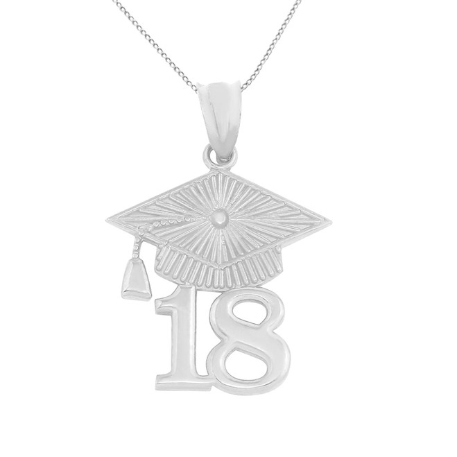 Solid White Gold 2018 Graduation Cap Pendant Necklace