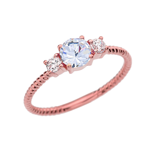 Dainty Rose Gold White Topaz With Side Stones Rope Design Engagement/Promise Ring