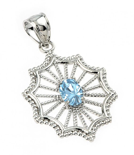 Sterling Silver Beautiful Modern Filigree Blue Topaz Birthstone Pendant Necklace