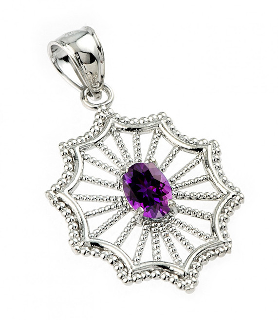 Sterling Silver Beautiful Modern Filigree Amethyst Birthstone Pendant Necklace