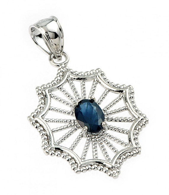Sterling Silver Beautiful Modern Filigree Sapphire Birthstone Pendant Necklace