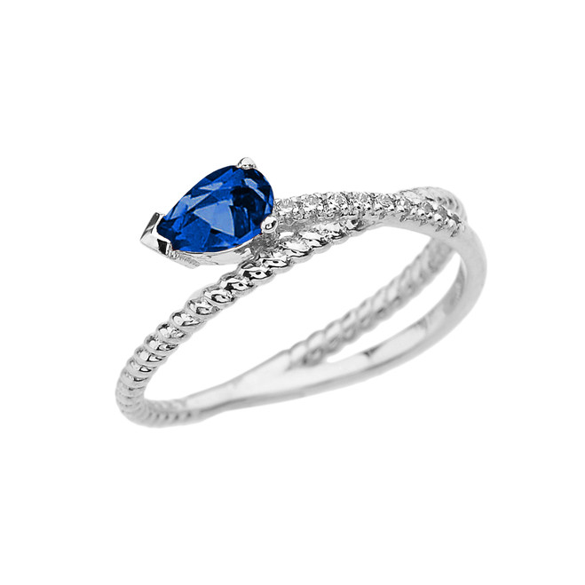 White Gold Criss-Cross Sapphire Rope and Diamonds Designer Ring