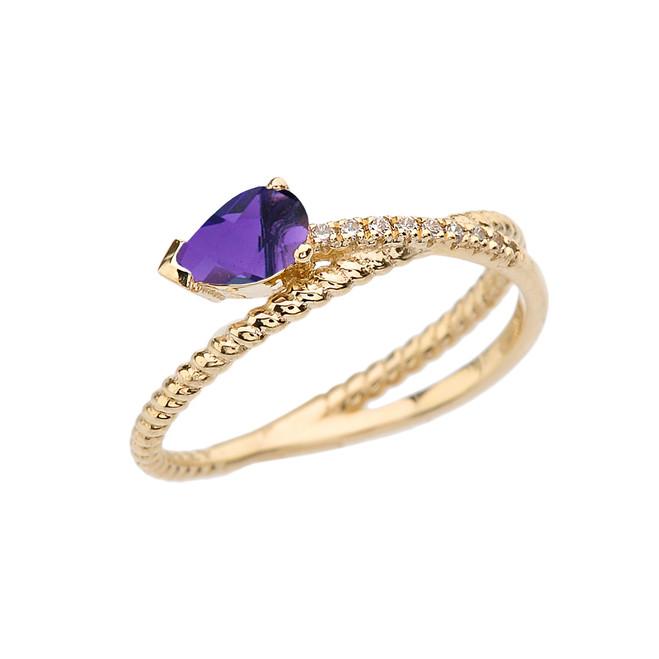 Yellow Gold Criss-Cross Amethyst Rope and Diamonds Designer Ring