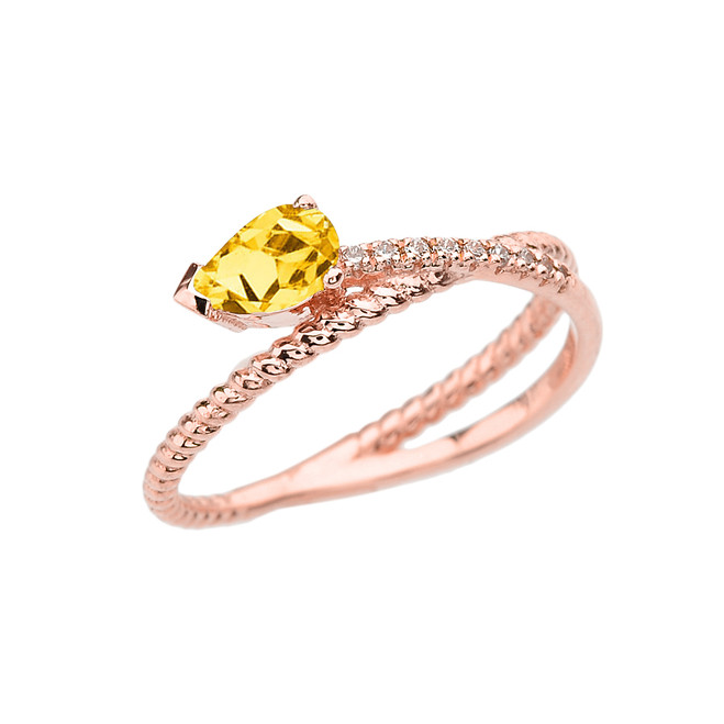 Rose Gold Criss-Cross Citrine Rope and Diamonds Designer Ring