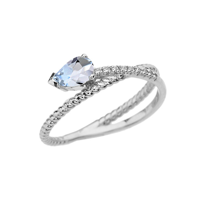 White Gold Criss-Cross Aquamarine Rope and Diamonds Designer Ring