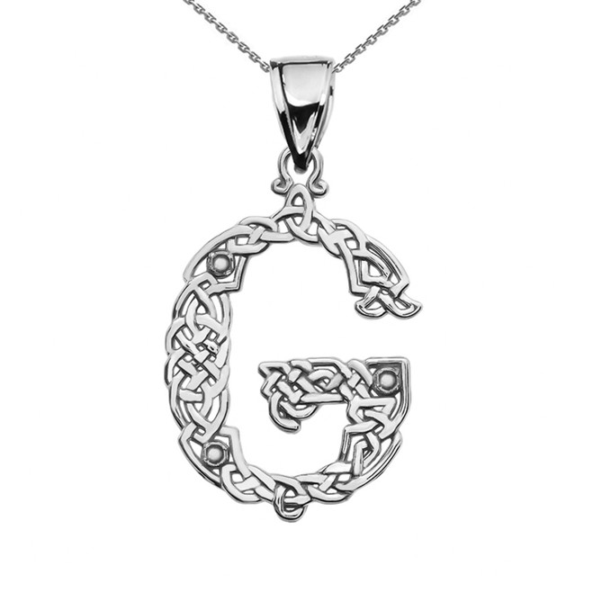 """G"" Initial In Celtic Knot Pattern Sterling Silver Pendant Necklace"