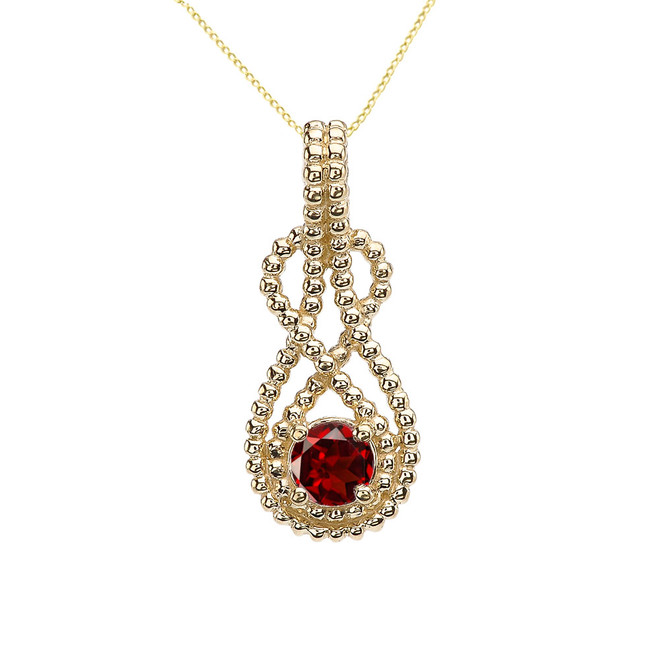 Yellow Gold Beaded 5 mm Genuine Garnet Double Infinity Hidden Bail Pendant