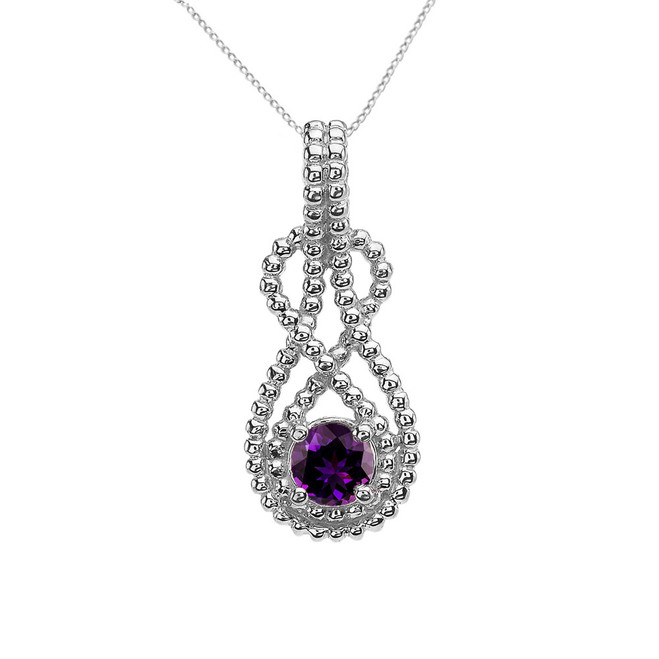 White Gold Beaded 5 mm Genuine Amethyst Double Infinity Hidden Bail Pendant