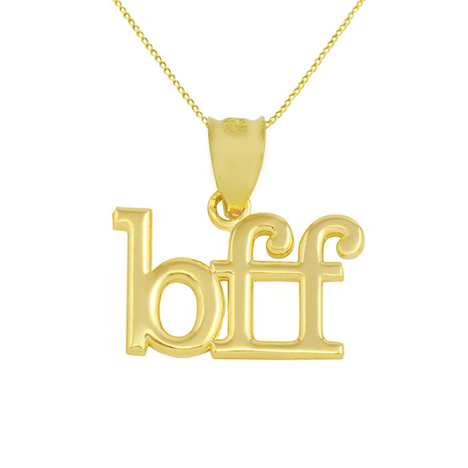 Solid Yellow Gold BFF Best Friends Forever Pendant Necklace