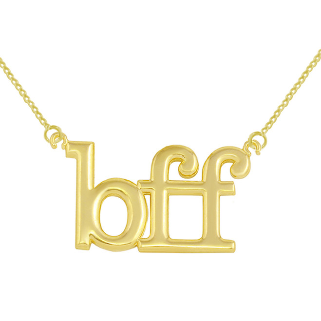 14k Solid Yellow Gold BFF Best Friends Forever Sideways Pendant Necklace