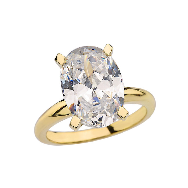 Yellow Gold Oval Shape CZ Engagement/Proposal Solitaire Ring