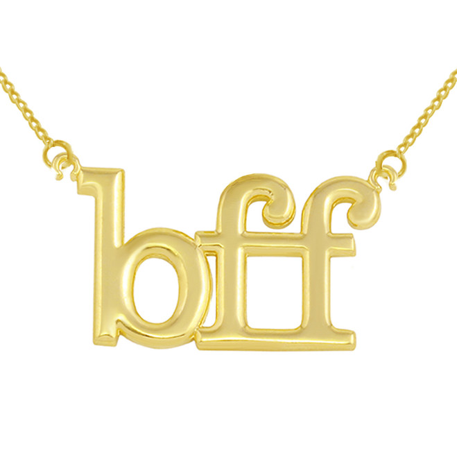 "Solid Yellow Gold BFF Best Friends Forever Sideways Pendant Necklace (0.79"" )"