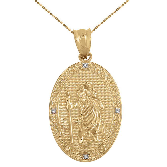 "Solid Yellow Gold Saint Christopher Medallion Diamond Pendant Necklace ( 1.12"")"