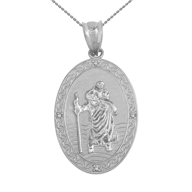 "Solid White Gold Saint Christopher Medallion Diamond Pendant Necklace ( 1.12"")"