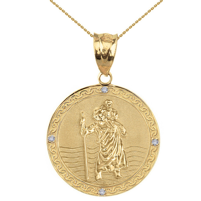 "Solid Yellow Gold Saint Christopher Medallion Circle Diamond Pendant Necklace ( 1.16"")"