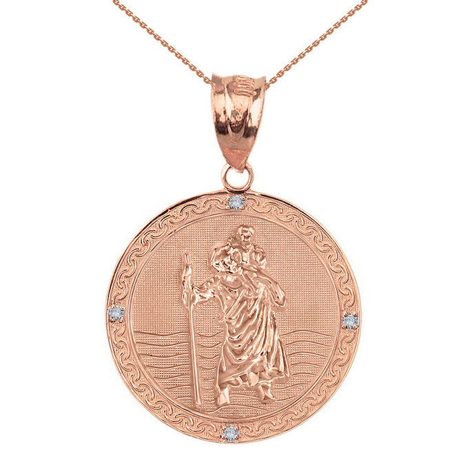 "Solid Rose Gold Saint Christopher Medallion Circle  Diamond Pendant Necklace ( 1.16"")"