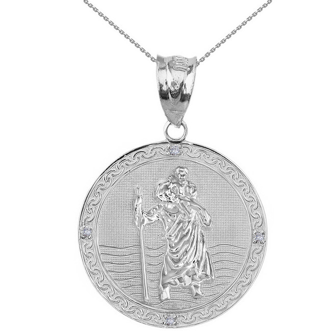 "Solid White Gold Saint Christopher Medallion Circle  Diamond Pendant Necklace ( 1.16"")"