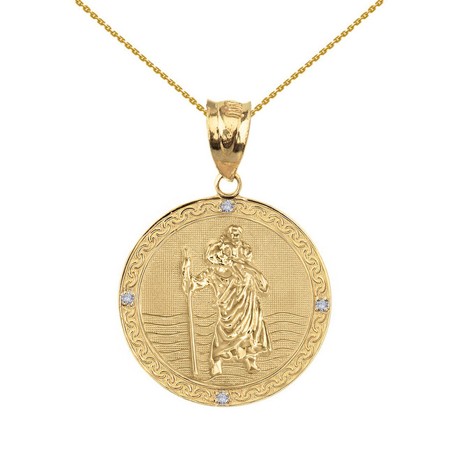"Solid Yellow Gold Saint Christopher Medallion Circle Diamond Pendant Necklace ( 1"")"