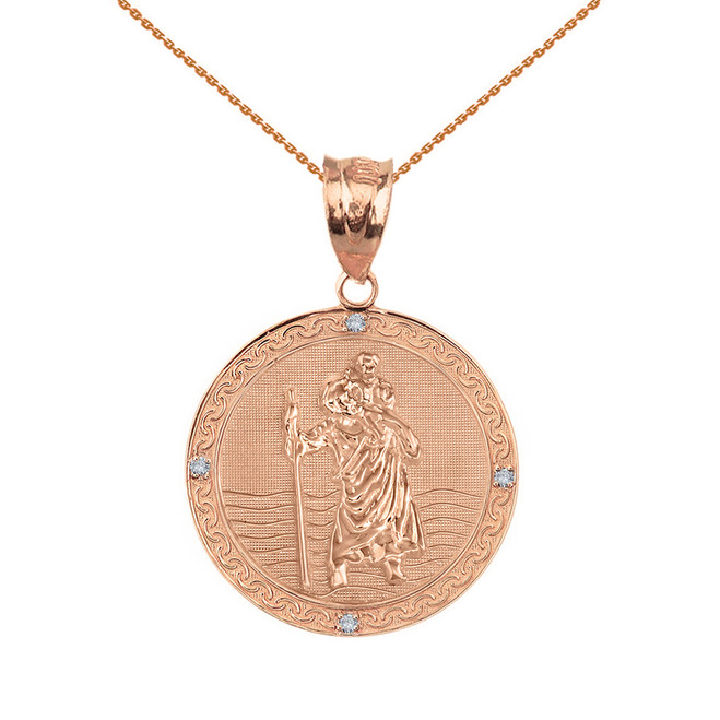 "Solid Rose Gold Saint Christopher Medallion Circle Diamond Pendant Necklace ( 1"")"