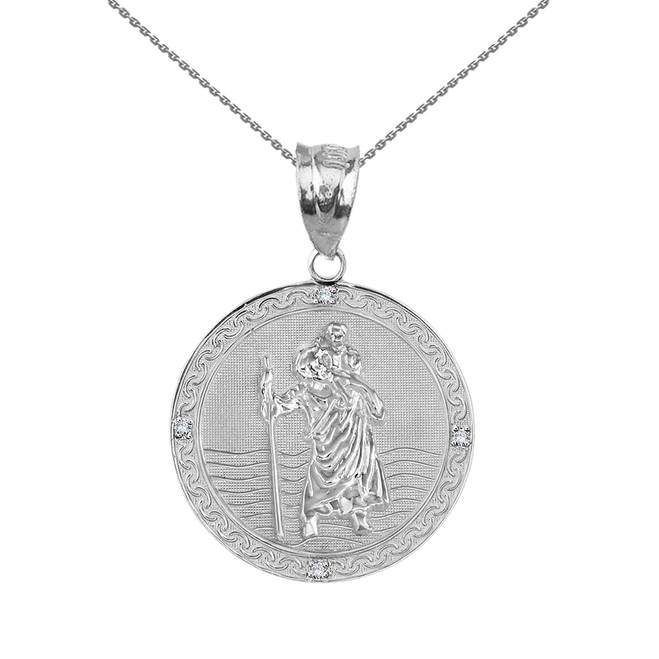 "Solid White Gold Saint Christopher Medallion Circle  Diamond Pendant Necklace ( 1"")"